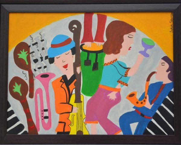 Jazz at Cafe Du Paris, Sakshi Talwar, Acrylic on Canvas, 21 x27, $1400